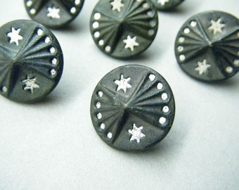 Antique buttons, star buttons, Victorian buttons, metal buttons, mirror back, set of 7