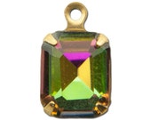 Faceted Vitrail Glass Stones 1 Loop Brass Setting 10mm x 8mm (4) squ003HH