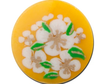 Vintage Yellow with White Flowers Cabochons Japan 13mm cab380B