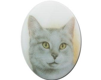 Vintage Glass Short Hair Gray Cat Cameo Cabochon 40x30mm (1) cab386K