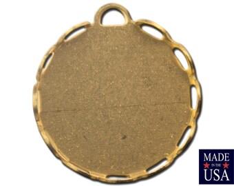 1 Loop Raw Brass Lace Edge Filigree Setting 15mm Round (12) stn002B