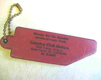 RED, ACRYLIC KeyChain advertising Lincoln-Mercury parts--VINTAGE 2 digit area code, and vintage phone number with prefix iv and five numbers