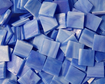 100 1/2 Inch Sapphire Blue Tumbled Stained Glass Mosaic Tiles