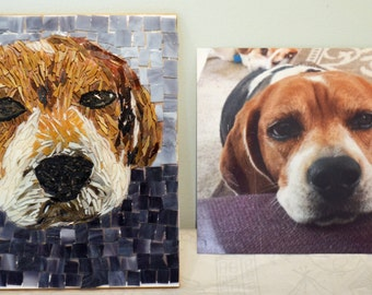 Custom Made Mosaic Stained Glass Pet Portraits