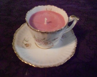 """Antique Porcelain Demitasse Cup & Saucer with """"Grapefruit"""" Soy Candle"""
