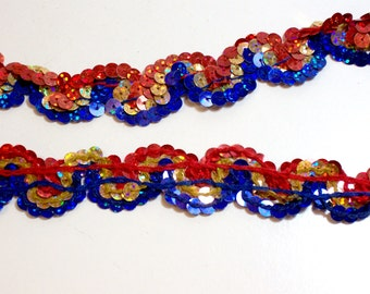 Sequin Lace, Red, Blue, and Gold Sequin Lace 1 inch wide x 3 yards, Holograph Sequin Trim