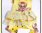 Pet Clothing To Order Paulines Fashions Original Ruffled Bum Yorkie Jammies with Spoonflower Fabric