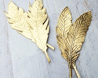 Feathers Metallic Gold Wool Felt -  Embossed - You Choose Amount