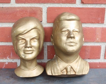 Vintage Kennedys Gold Chalkware Busts ~ John F. Kennedy & Jacqueline Kennedy ~ Wall Hanging ~  Ready to Hang