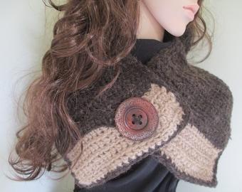 crochet neck warmer, cowl, scarflette, brown , beige, scarf, womens, winter