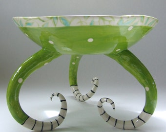 whimsical pottery Serving Bowl with striped legs :) Beachy Decor hand-painted Lime & turquoise floral dish,seaglass Home Decor