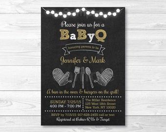 Chalkboard BBQ Baby Shower Invitation / BaByQ Baby Shower Invitation / Coed Shower / PRINTABLE