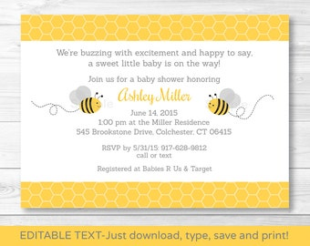 Cute Bumble Bee Baby Shower Invitation / Bumble Bee Baby Shower Invite / Yellow & Grey / Gender Neutral / INSTANT DOWNLOAD Editable PDF