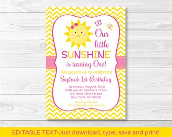 Sunshine Birthday Invitation / You Are My Sunshine / Chevron Birthday Invitation / INSTANT DOWNLOAD Editable PDF
