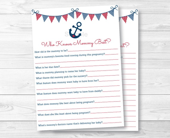 These Adorable Who Knows Mommy Best Cards Are A Fun Baby Shower Activity.  Simply Pass Them Around During The Baby Shower Where Guests Will Have Fun  ...