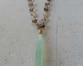 Green Chalcedony Pendant On A Smoky Topaz Gemstone Gold Filled Chain