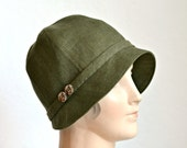 Linen Cloche hat in Fig Green with Vintage Carved Buttons - Made to Order