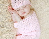 Crochet Baby Cocoon and Hat, Photography Prop, Baby Girl, Baby Boy, You pick size and color, Ready to Ship