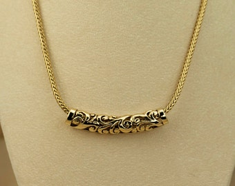 Vintage Necklace - Slider Necklace - Gold Tone Floral Motif Slider on Heavy Chain