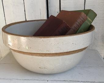 Vintage Crock Pottery Bowl - 12 Inch Mixing Bowl - Primitive Salt Glaze HUGE