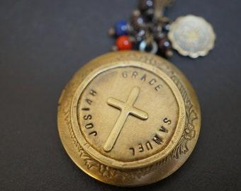 Handmade Customize Vintage Simple Dainty Walnut Dark Brass Round Locket with Your Names Cross Necklace 18 inch