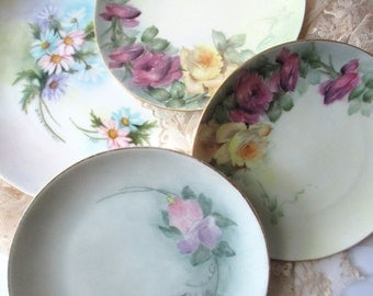 Vintage Nippon Hutschenreuther Bavarian Floral Plate Collection of Four