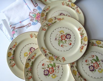 Vintage Dessert Plates Paden City Floral Bread & Butter Plates Set of Six