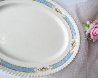Vintage Johnson Bros Old English Blue Pink Floral Serving Platter
