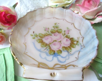 Lovely Vintage Pink Rose Shell Dish