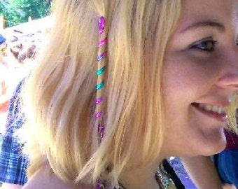 """FREE USA SHIPPING! 4"""" Hair Twister Mini - Rainbow, metal spiral hair wraps, Renaissance and Fashion Hair Accessories"""