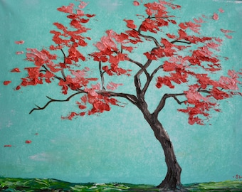 Coral and Sea Green Tree Original Painting