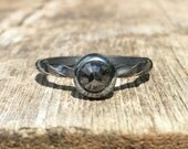 Oxydized sterling silver and black diamond ring size 8 ready to ship