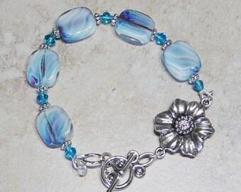 Blue Glass Bead Bracelet, Silver Flower Charm Bracelet, Silver Beaded Bracelet, Blue Bead Bracelet, Flower Bracelet, Glass Bead Bracelet