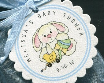 Baby Shower Favor Tags - Baby Boy Favor Tags - Baby Shower Tags - Bunny - Blue - Personalized Tags - Set of 25