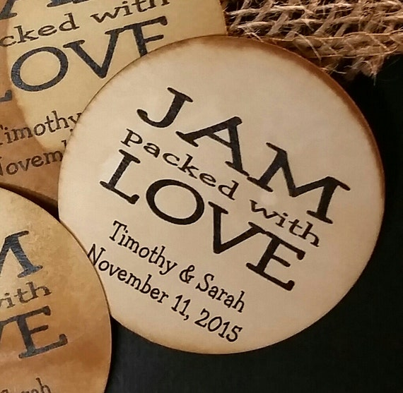 "2"" STICKER Jam Packed with Love Personalized Wedding Shower Favor STICKER choose your amount sold in sets of 20 STICKERS"