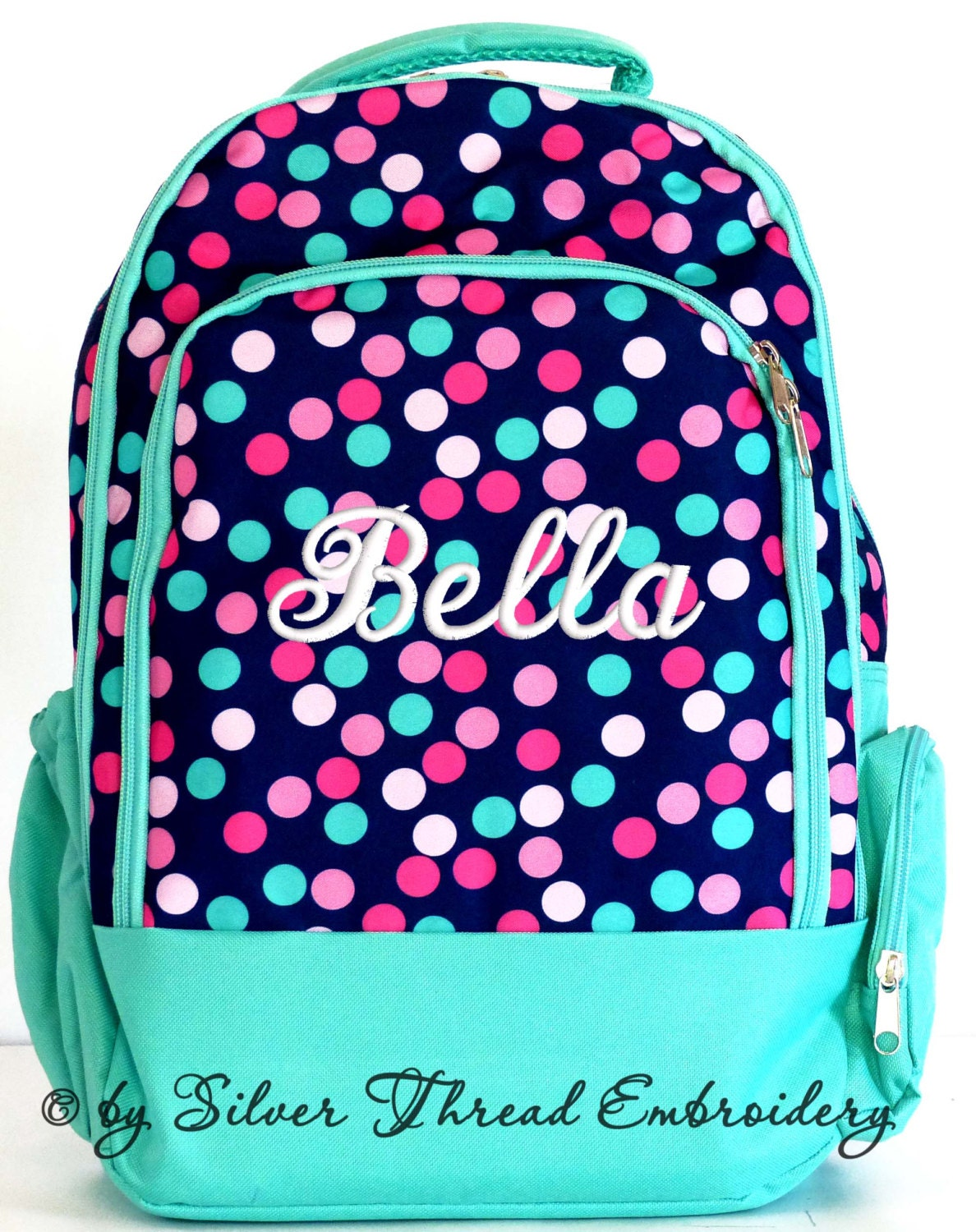 Girls Monogram Backpack Polka Dots School Personalized