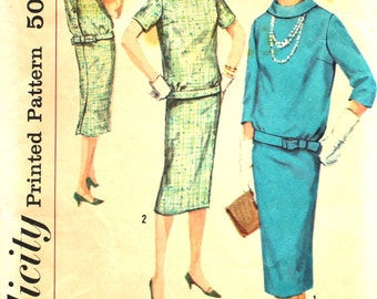1960's Two Piece Dress Bust 32 Simplicity 2600