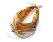 Willow design Scarf, Silk and Metallic Gold Foil, Square Fashion Scarf, Handprinted