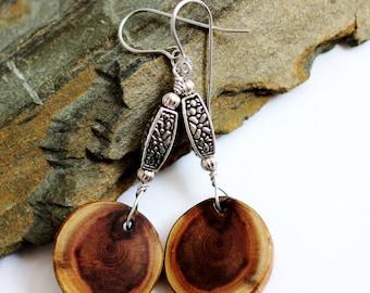 Wooden Earrings Wire Wrapped Dangle Wood Earrings, Eco-Friendly, Red Cedar, Reclaimed Wood Earrings, Sustainable Jewelry by Hendywood
