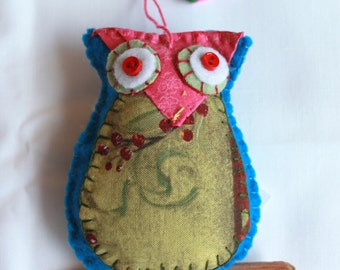 Plush Felt Owl Perched on a branch Hanging Ornament
