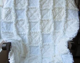 """White Baby Quilt, Minky Flannel Baby Quilt, 35""""x35""""  Baby Quilt, Baptism Baby Quilt, Christening Baby Quilt, Blessing Baby Quilt"""