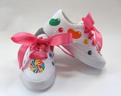 Candy Shoes, Kids Birthday Party Sneakers, Hand Painted for Baby and Toddlers