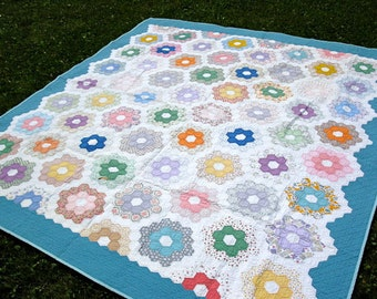 Blue Hexagon Quilt