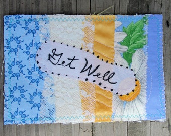 Get Well Fabric Postcard Scrappy Pieced Patchwork in Blue Yellow Lace Stitched Stationary
