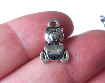 50 Bulk, Teddy Bear Charms (Double Sided, same design on both sides) 16x10x4mm