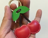 Small size - Cherry leather charm ( Red )