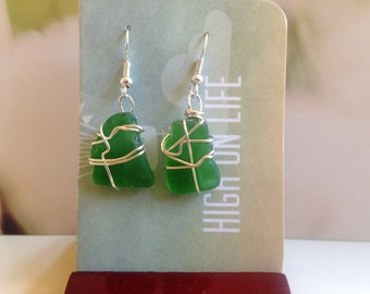 Emerald Green Sea Glass Drop Earrings