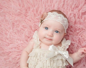 Adelina - Vintage Inspired Rosette Headband - Cream Beige Nude Taupe Pink - Twine Bow Lace - Newborn Infant Baby Girl Toddler