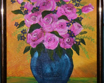 Pink Roses , Acrylic painting