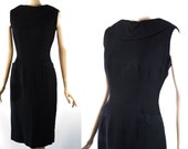 Vintage 1950s Dress Black Waffle Weave Cotton Form Fitting by Jerry Gilden B34  W26